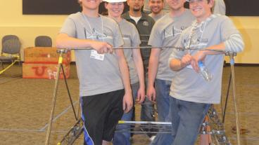 The senior design team, Mines Steel Standing, received first place in the Steel Bridge competition. (Photo Credit: Susan Coffey)