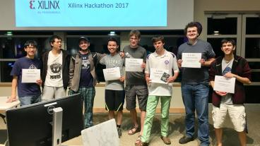 Computer science students from Colorado School of Mines pose after winning the Xilinx Hackathon