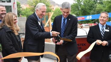 CoorsTek chairman John Coors and Mines president Paul Johnson cut the ribbon on the CoorsTek Center for Applied Science and Engineering