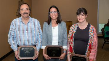 Mines Teaching Award winners William Navidi and Deb Carney and Faculty Excellence Award winner Corinne Packard.