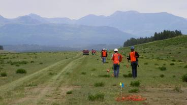 On the ground in geophysics field camp.