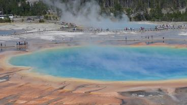 Grand Prismatic Spring, Yellowstone National Park, Wyoming. The largest hot spring in Yellowstone, Grand Prismatic is one of the largest hot springs in the world and provides an exquisite window into the deep hot biosphere of the Earth. Photo by John R. Spear