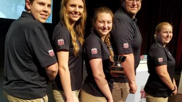 Materials Bowl team members Colin Gilgenbach, Kaitlyn Nagel, Melissa Thrun, John Copley and Victoria Avance.