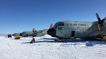 New York Air National Guard's LC-130 fleet lined up at Williams Field, the skiway at McMurdo Station, Antarctica.