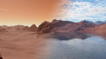 Rendering of Mars before and after its ancient oceans disappeared