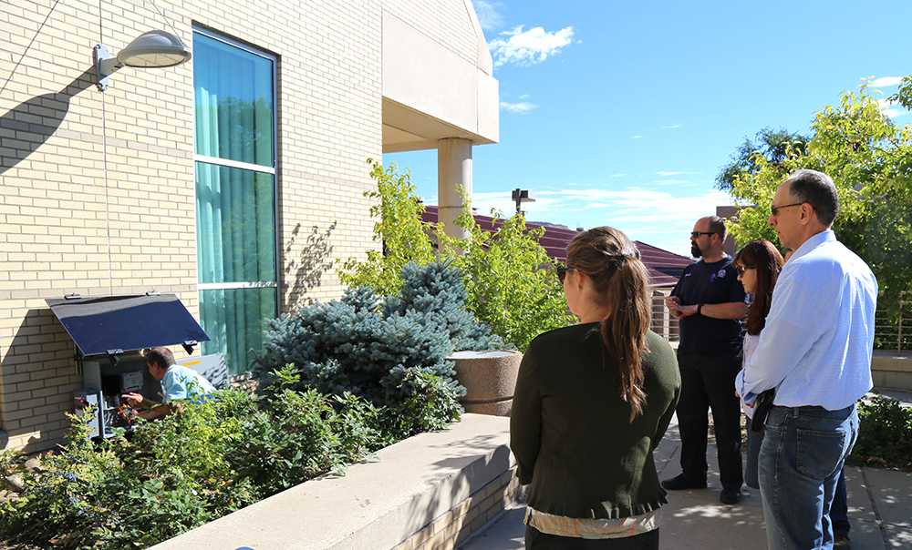 solar panel installed outside Geology Museum at Colorado School of Mines