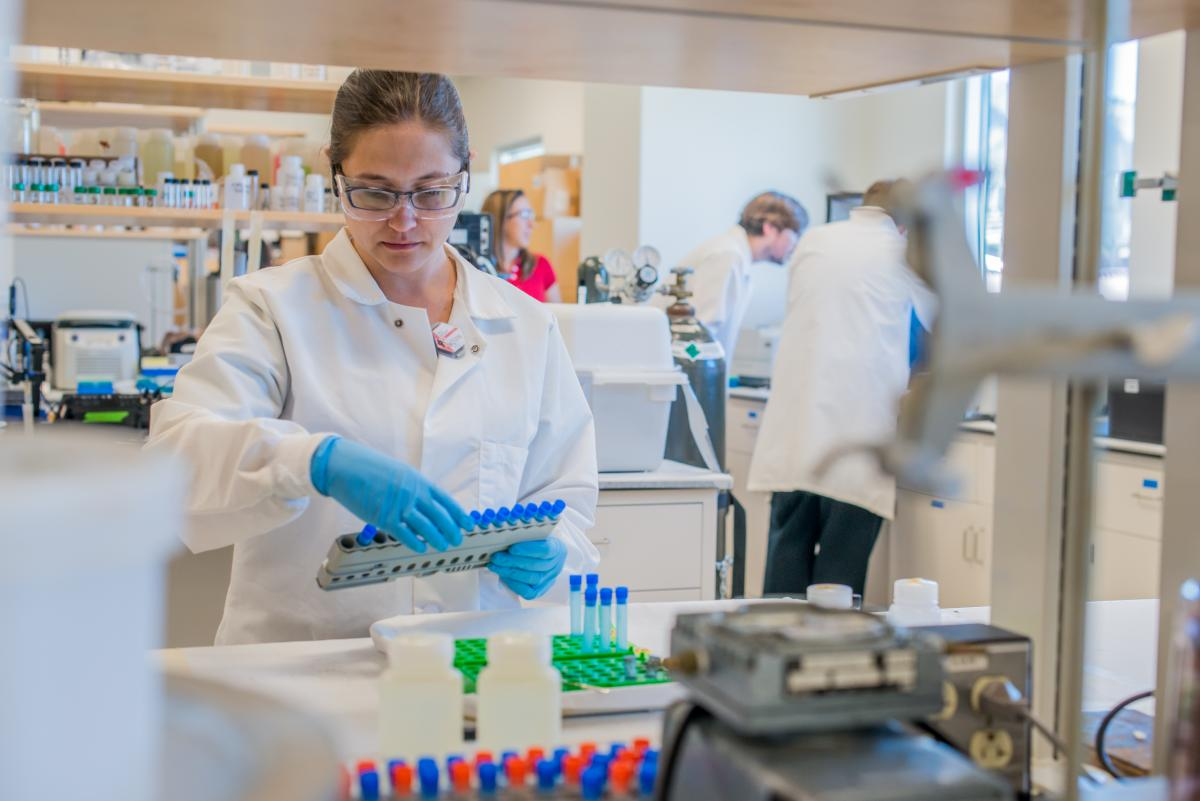 Student Erin Bertelsen works on her research in the radiochemistry lab
