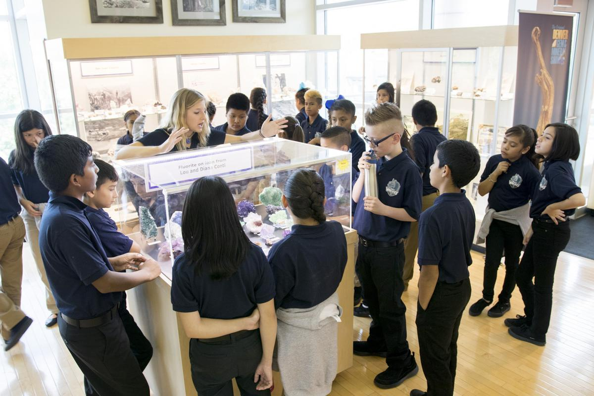 Sixth grade students explore the Mines Geology Museum.