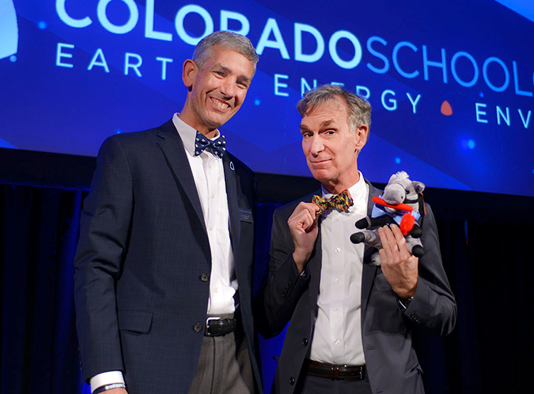 Mines' President Paul Johnson, Bill Nye and Blaster the Burro in their matching bow-ties, all part of the Bill Nye official bow-tie collection.