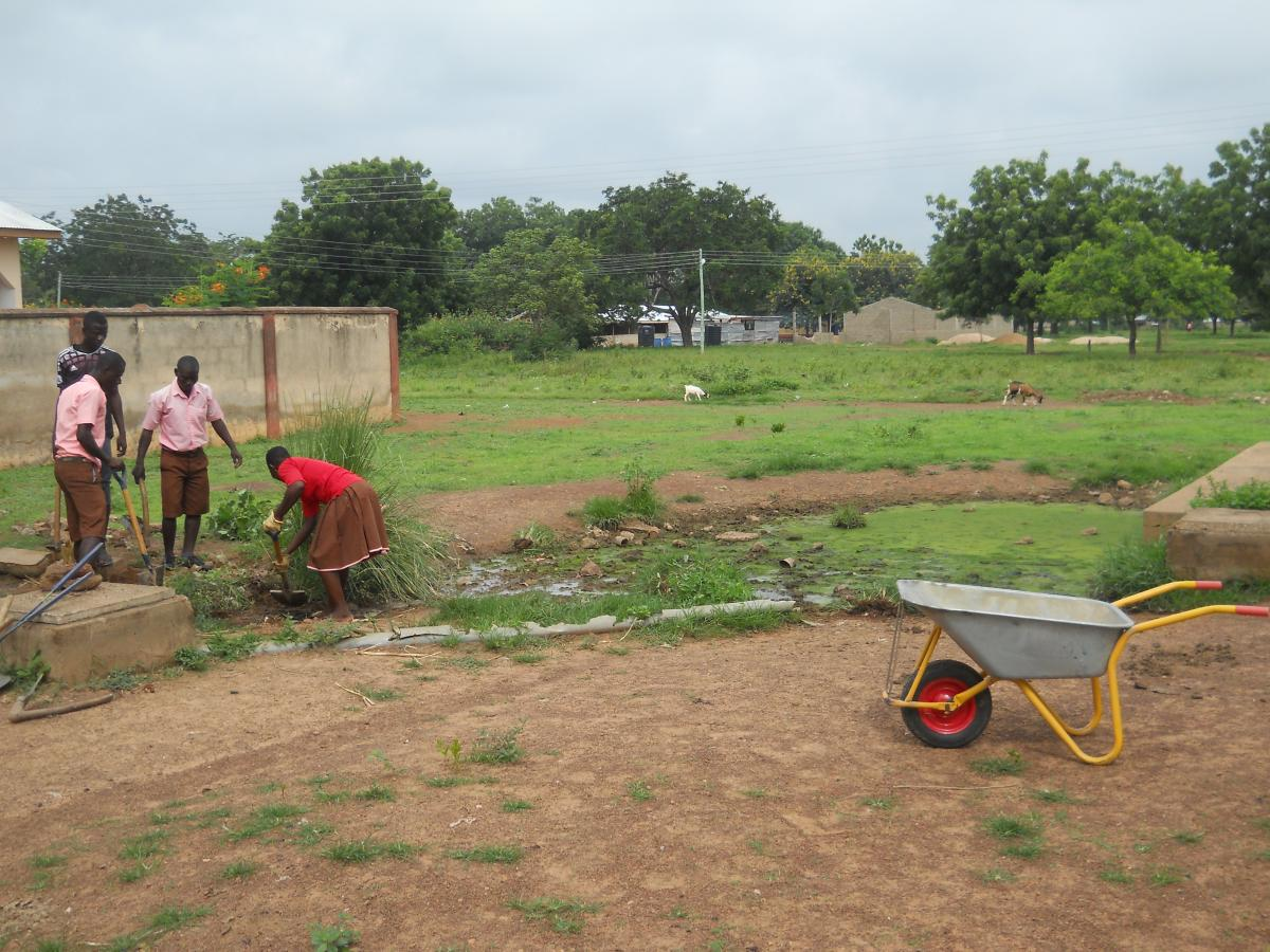 Ghanaians work on a sanitation project with Peace Corps volunteers