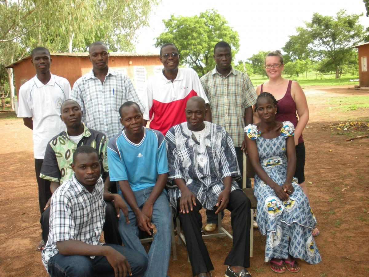 Whitney Svoboda poses with nine other teachers in Burkina Faso