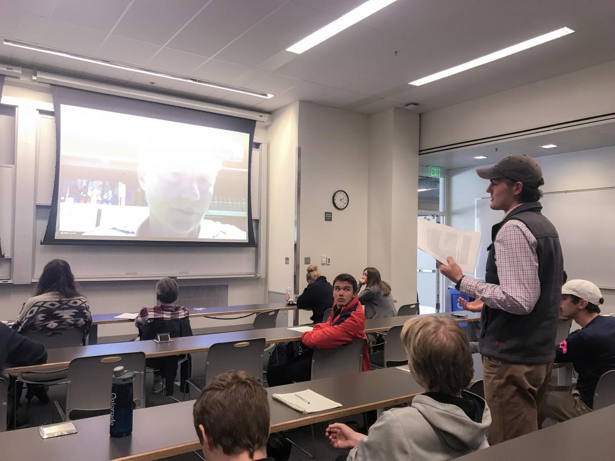 Student asks Lerner a question during the videoconference.