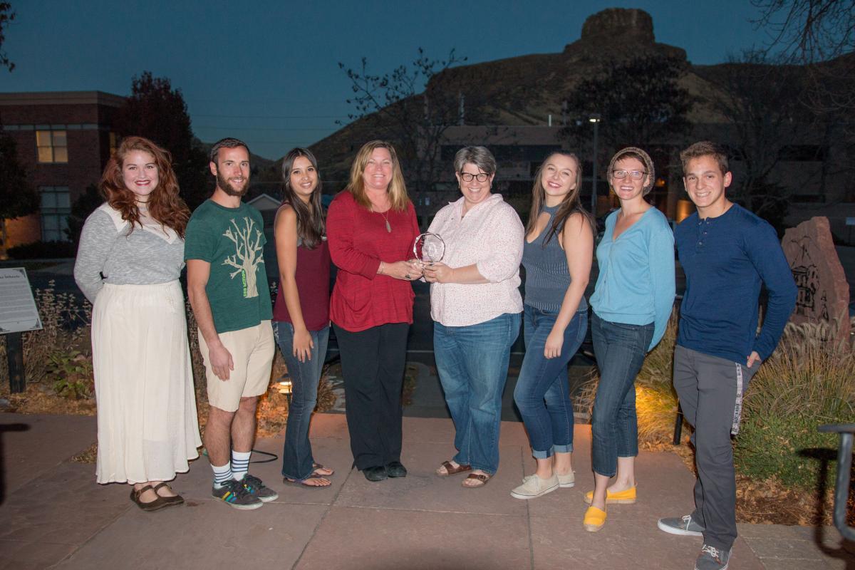 The Mines team with advisors. Left to right: Dana Steiner, Ian Kramer, Kirsten Fong, Toni Lefton, Sandy Woodson, Hannah Grover, Azriel Wolffe, Parker Bolstad.