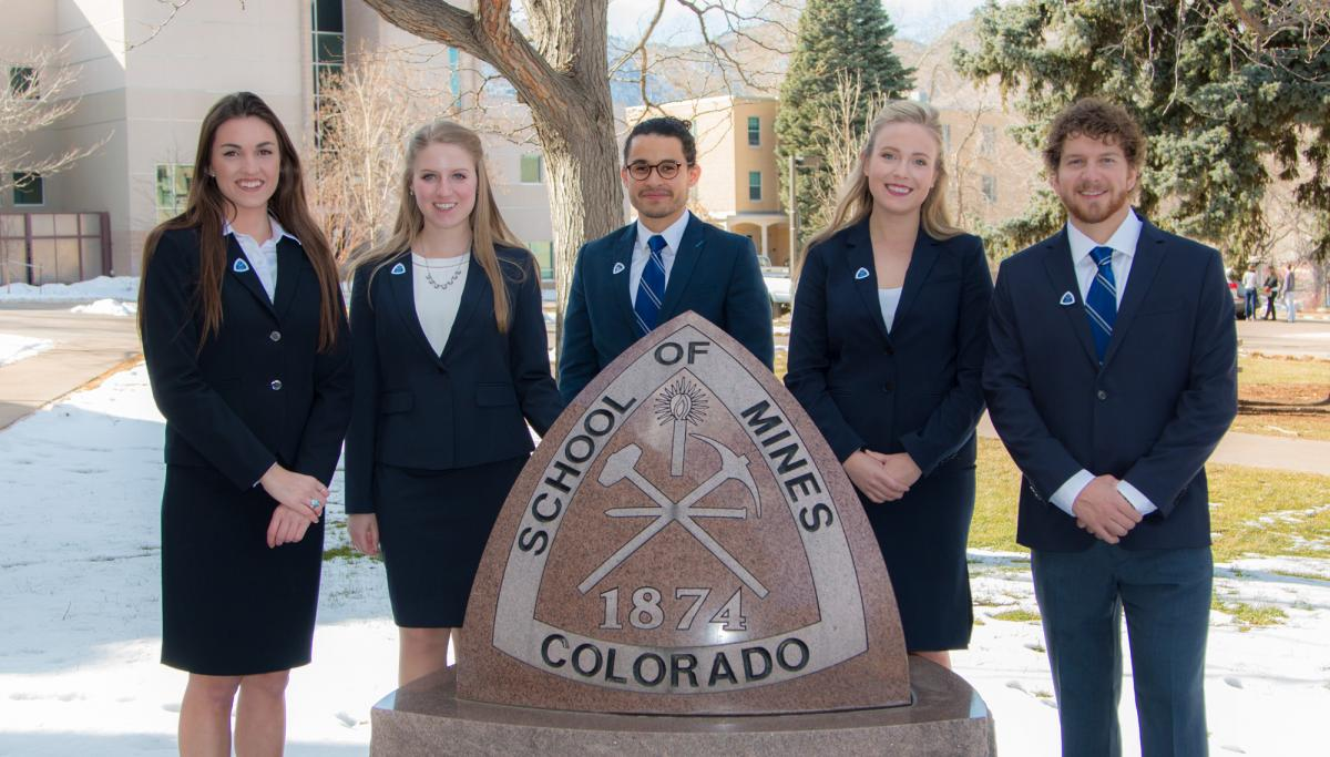 The 2017 Colorado School of Mines IBA team. Left to right: Lauren Bane, Brittany Abbuhl, Sebastian Cardona, Jacquelyn Daves, Matthew Huels.