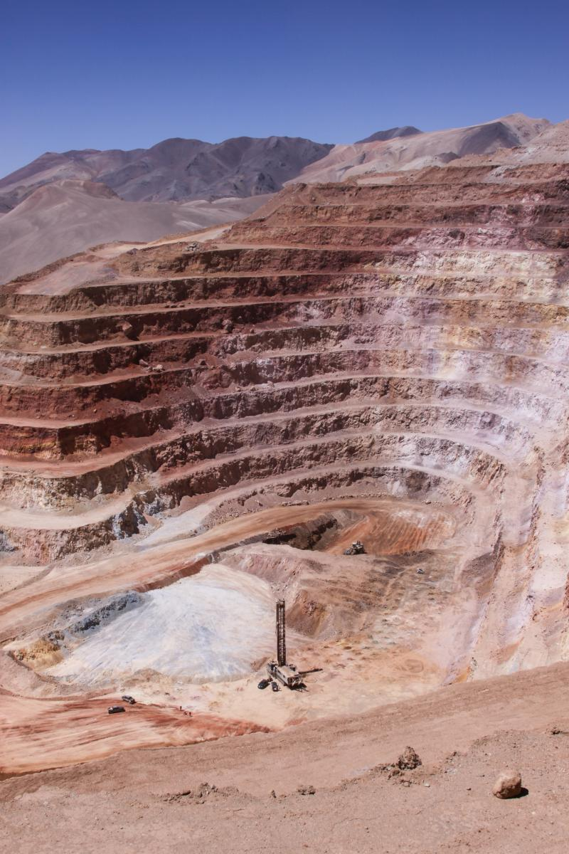 An open-pit mining operation at the Veladero Mine in Argentina.