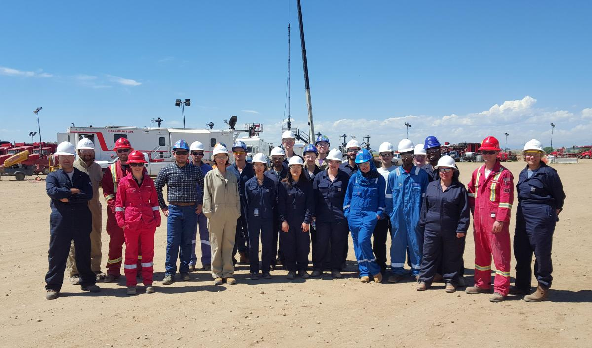 "Students in the ""Hydraulic Fracture Design and Refracturing Treatments"" externships visited a Halliburton oil field."