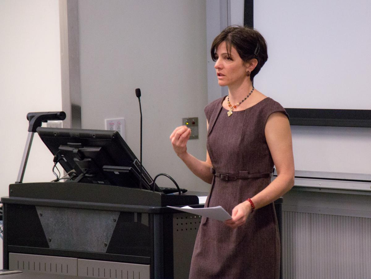 "Tina Gianquitto delivers a talk on her co-edited book, ""America's Darwin""."